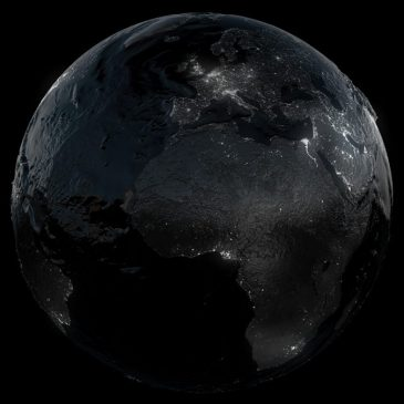 The Earth in darkness.